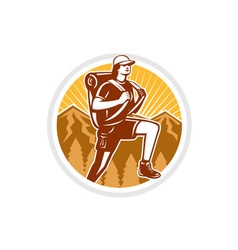 Female Hiker Hiking Mountain Circle Retro vector image vector image