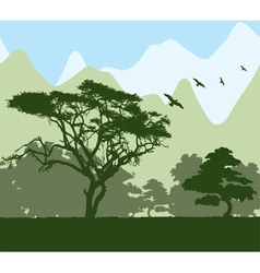forest and mountains vector image vector image