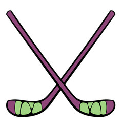 hockey sticks icon icon cartoon vector image vector image