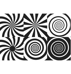 horizontal banner set of psychedelic spiral with vector image