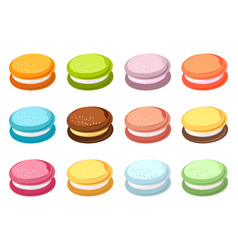 set of colored macaroons vector image vector image