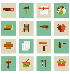 Set of flat working tools icons Repair their own vector image