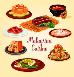 malaysian cuisine cartoon poster for menu design vector image