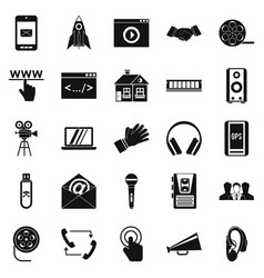 noise icons set simple style vector image