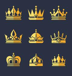 set of rich golden crowns flat vector image