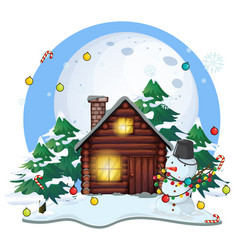 wooden cottage and snowman on christmas vector image vector image