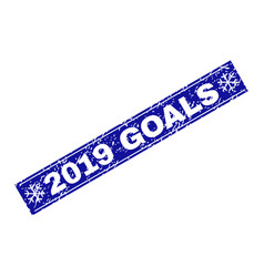 2019 goals scratched rectangle stamp seal with vector image