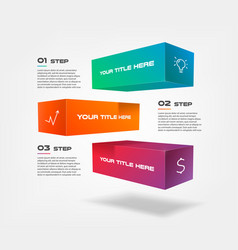 3d blocks infographics step by step with icons vector