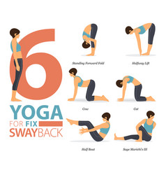 6 yoga poses for workout in swayback fix concept vector