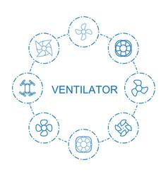8 ventilator icons vector