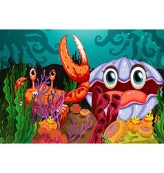 A big crab and a clam vector