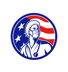 American nurse looking up usa flag circle vector