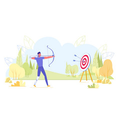 archery paralympic or amateur athlete in training vector image