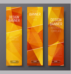 banners with abstract polygonal background gold vector image vector image