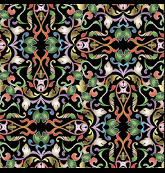 Baroque colorful floral seamless pattern damask vector
