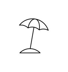 beach umbrella linear icon on white background vector image