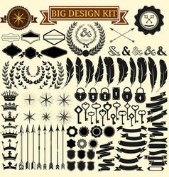 big vintage design kit collection 100 vector image