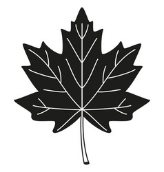 black and white maple leaf silhouette vector image