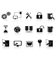 black database and technology icon vector image