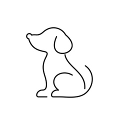 Black dog thin line icon vector image