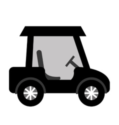 black golf cart side view graphic vector image