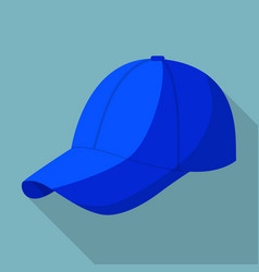 blue baseball cap icon flat style vector image