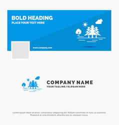Blue business logo template for mountain hill vector