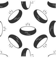 Bowl of hot soup icon seamless pattern on white vector