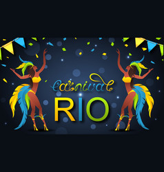 Brazil carnaval party poster girl dancers vector
