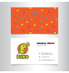 business card template with cute dino logo vector image