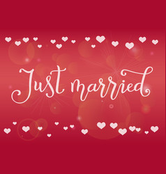 calligraphy of just married in white on pink vector image
