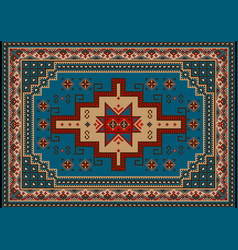 Carpet with blueredbrownyellow and beige shades vector