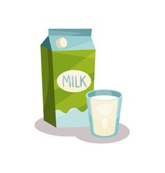 carton of milk and glass of milk vector image