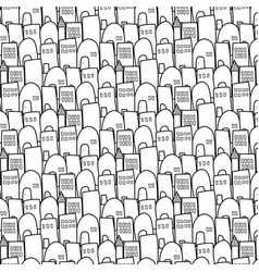 City pattern is repetitive texture hand drawn vector