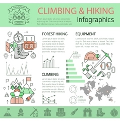 Climbing And Hiking Linear Infographics vector
