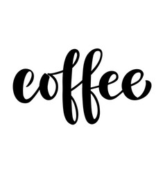 coffee lettering hand drawn brush vector image