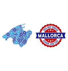 Collage spain mallorca island map of service tools vector