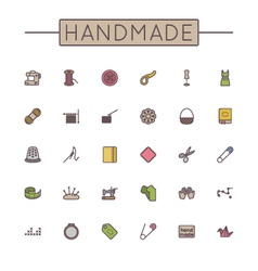 Colored Handmade Line Icons vector
