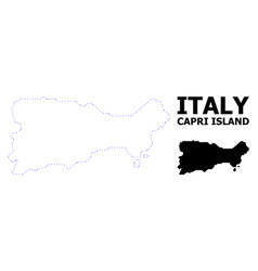 Contour dotted map capri island with vector