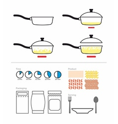 Cooking instruction with a frying pan FRY on vector image