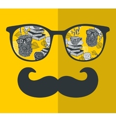 Cool hipster face print of man with sunglasses vector
