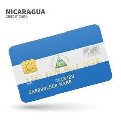 Credit card with Nicaragua flag background for vector image