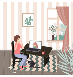 crying woman seating at her desk in front her vector image