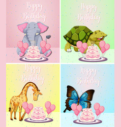 cute animal on birthday card vector image