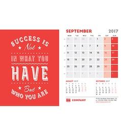 Desk Calendar Template for 2017 Year September vector