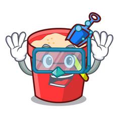 diving sand bucket character cartoon vector image
