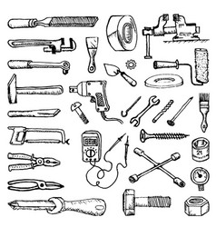 Doodle style images plumbing and home tools to vector