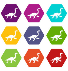 elasmosaurine dinosaur icon set color hexahedron vector image