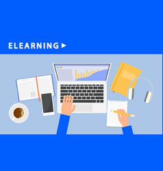 elearning banner flat style vector image