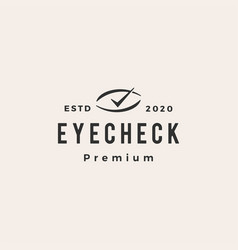 eye check hipster vintage logo icon vector image